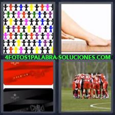 4 Fotos 1 Palabra - pierna equipo Dibujo personas de colores Equipo deportivo de rojo Pañuelos insignia club deportivos |