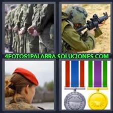 4 Fotos 1 Palabra - ejercito medallas Mujer soldado con gorra roja Soldado cuerpo a tierra disparando |