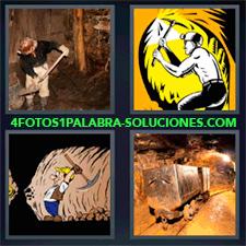 4 Fotos 1 Palabra - Obrero Con Pala Carros De Una Mina Dibujo Hombre Haciendo Túnel Dibujo Señor Con Pico |