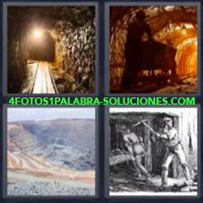 4 Fotos 1 Palabra - túnel mina Dibujo de trabajadores Montañas |