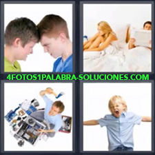 4 Fotos 1 Palabra - niño enfadado Dos jóvenes chocando la cabeza Niño gritando Pareja enfadados en la cama Señor rompiendo con un hacha |