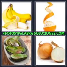 4 Fotos 1 Palabra - Platanos Aguacates Cebollas Pelando Naranja |