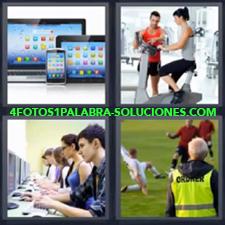 4 Fotos 1 Palabra - Tablet bicicleta Chica con profesor haciendo gimnasia Clase de ordenadores o computación Partido de fútbol Tabletas y móvil o celular |