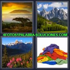 4 Fotos 1 Palabra - paisaje ropa Atardecer Cordillera con bosque Paisaje con flores rosas |