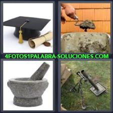 4 Fotos 1 Palabra - Albañil poniendo cemento Gorro y título de graduación Lanzagranadas Majador de piedra Mortero de piedra |