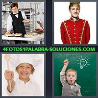 4 Fotos 1 Palabra - Camarero con platos en la cocina |