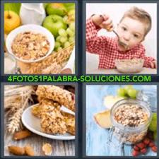 4 fotos 1 Palabra - 6 letras: Barritas de cereales desayunos con fruta Imagen con recipiente con cereales y uvas Niño comiendo |