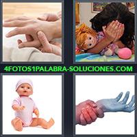Persona tomándose la mano con dolor, Niña cubriendose la cara, Muñeca de jugueta