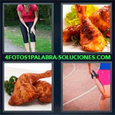 4 Fotos 1 Palabra - Mujer Corriendo Chica Estirando Para Hacer Deporte Plato De Comida Con Pavo O Pollo Pollo Con Lechuga |
