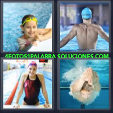 4 Fotos 1 Palabra - nadando natación Hombre buceando. Hombre con gorra azul Mujer en alberca Niña en la piscina |