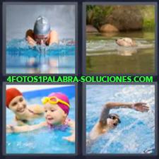 4 Fotos 1 Palabra - natación Chico en alberca Niña con madre en la piscina Perro en lago |