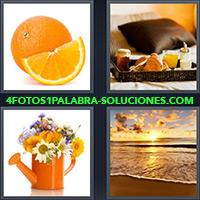 Fruta cortada por la mitad, Desayuno, Regadera con flores, Atardecer o amanecer en la playa