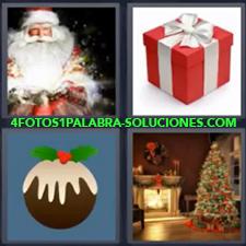 4 Fotos 1 Palabra - Árbol de navidad Caja de regalo Galleta o panqueque Papa Noel o Santa Claus |