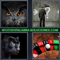 4 Fotos 1 Palabra - Hombre con paraguas bajo la lluvia |
