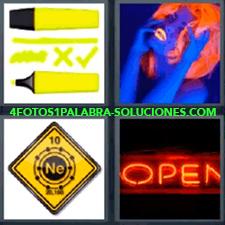 4 Fotos 1 Palabra - 4 Letras: Letrero Open, Subrayador O Rotulador Amarillo Fosfit, Mujer Con Peluca Roja Toda Azul, Letrero Ne, Luminoso De Abierto Open. |