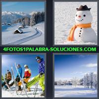Paisaje con Cabañas Nevadas, Bosque en Invierno, Grupo de Personas Esquiando, Muñeco de Nieve |