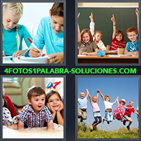 4 Fotos 1 Palabra - Grupo de niños saltando |