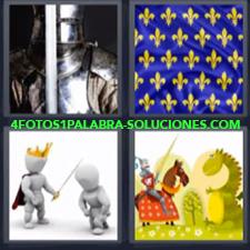 4 Fotos 1 Palabra - Armadura Bandera Antigua Dibujo Rey Con Espada Guerrero Contra Dragon |