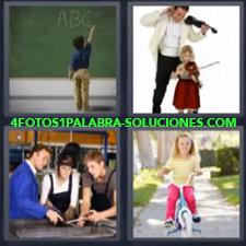 4 fotos 1 Palabra - 6 letras: hombre y niña tocando el violín niña con bicicleta azul niño escribiendo en pizarrón pizarra tres personas trabajando en taller Violines |