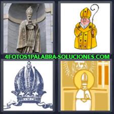 4 fotos 1 Palabra - 6 letras: sacerdote Corona Cura Medalla Religion |