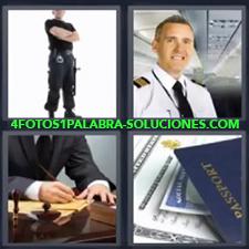 4 Fotos 1 Palabra - Comandante Pasaportes Piloto de avión Policía Señor de traje firmando en despacho |
