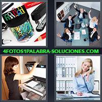 Ganchos o clips de metal, Personas en el trabajo, Mujer haciendo o sacando copias o fotocopias