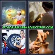 4 fotos 1 Palabra - 6 letras: alfarero Cocinera Mecánico mujer tejiendo |