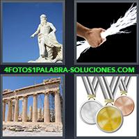 Estatua de dios griego, Hombre sosteniendo un rayo, Ruinas en Atenas Grecia, Medallas de oro