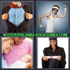 4 Fotos 1 Palabra - Chica con su diploma de graduación Hombre abriéndose la camisa Joven haciendo ejercicio Padres con bebe en brazos |