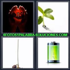 Manos con silueta de bebé y luz roja de fondo, Brote de una planta, Germen, Batería verde.