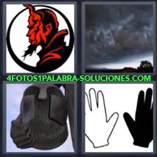 4 fotos 1 Palabra - 6 letras: diablo casco Dibujo diablo rojo Dibujo mano blanca y negra Nubes negras |