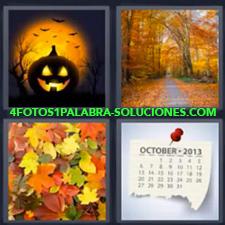 4 Fotos 1 Palabra - Calabaza Camino En Bosque Hoja Calendario Octubre Hojas De Arboles |