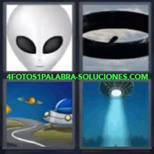 4 Fotos 1 Palabra - 4 Letras: Platillo Volador, Extraterrestre, Dibujo De Nave Espacial, Platillo Volante Con Luz. |