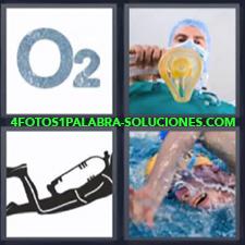 4 Fotos 1 Palabra - O2 buceo natación Dibujo de buzo Mascarilla de hospital |