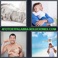 4 Fotos 1 Palabra - Hombre y bebé con cepillo de dientes |