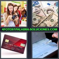 Mujer en un supermercado pagando, Billetes, Euros y Dólares, Tarjeta de crédito, Cheque |