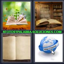 4 fotos 1 Palabra - 6 letras: libros abiertos Libro abierto flores Mundo internet |