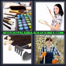 4 fotos 1 Palabra - 6 letras: pintora jardinera pinturas Rastrillo jardineria |