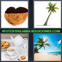 Palmeritas, Platanero, Desayuno o merienda con café y palmeras, Playa con palmera desierta