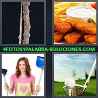4 Fotos 1 Palabra - Mujer con delantal, escoba y pala |