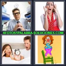 4 fotos 1 Palabra - 6 letras: dibujo de mujer sobre una silla Gente gritando mujer de rojo gritando pareja en la cama con despertador |