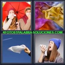 4 Fotos 1 Palabra - Chica con gorra azul estornudando Mano con paño blanco al viento Pareja con paraguas rojo Telas de colores |