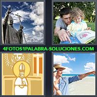 4 Fotos 1 Palabra - Padre leyendo con su hija |