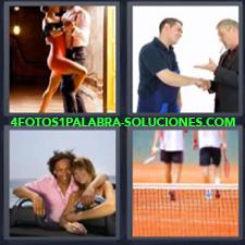 4 fotos 1 Palabra - 6 letras: Enamorados en un coche Hombres dandose la mano Tango Tenistas |