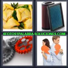 4 Fotos 1 Palabra - Engranaje Filtros Pareja De Espaldas Trozos De Empanada |