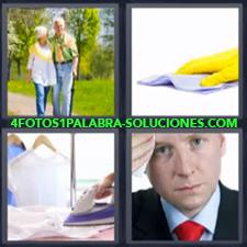 4 fotos 1 Palabra - 6 letras: Ancianos plancha guante amarillo con bayeta hombre con corbata roja limpiándose el sudor |