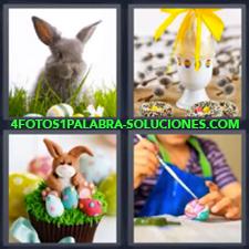 Conejo, Huevo con moño o lazo amarillo, Cupcake con Conejo, Mujer pintando huevo