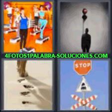 4 Fotos 1 Palabra - 4 Letras: Huellas En La Arena, Chicas En Un Gimnasio, Sombra De Un Hombre, Huellas De Pasos Sobre La Arena, Señales De Tráfico. |