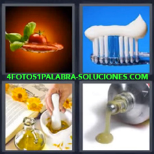 4 Fotos 1 Palabra - Cepillo De Dientes Pegamento Preparando Salsa En Mortero |