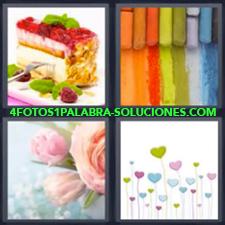 4 fotos 1 Palabra - 6 letras: pinturas Dibujo de flores colores Flores rosas Pastel o tarta |